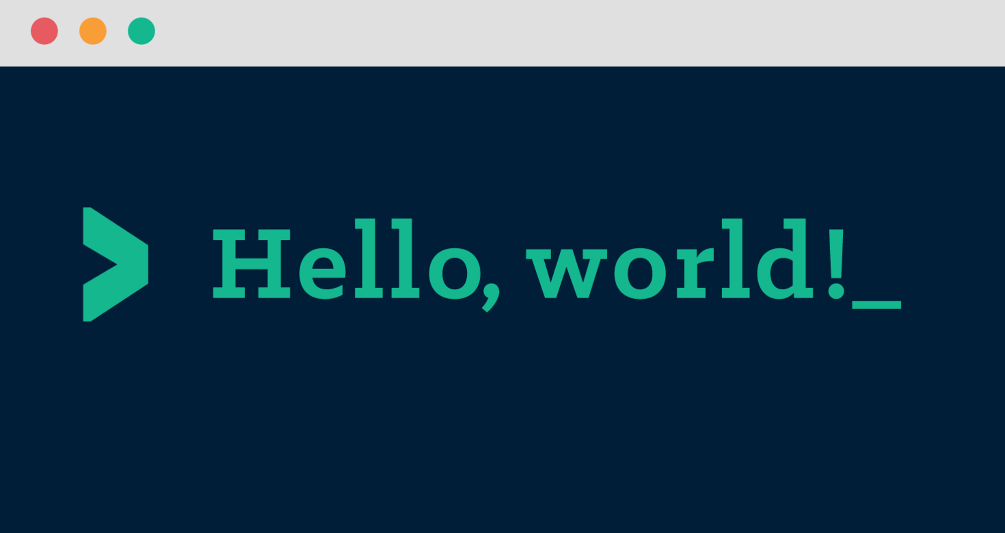 The words Hello World! in a terminal